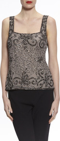 Gina Bacconi Pewter Bead And Sequin Cami - sleeve style: standard vest straps/shoulder straps; style: camisole; predominant colour: black; occasions: evening, occasion; length: standard; fibres: polyester/polyamide - 100%; fit: tailored/fitted; sleeve length: sleeveless; neckline: low square neck; pattern type: fabric; pattern: patterned/print; texture group: other - light to midweight; embellishment: beading; pattern size: big & busy (top); season: a/w 2016