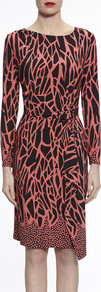 Gina Bacconi Coral/Black Animal Jersey Dress - style: shift; neckline: round neck; waist detail: twist front waist detail/nipped in at waist on one side/soft pleats/draping/ruching/gathering waist detail; secondary colour: pink; predominant colour: black; occasions: evening; length: on the knee; fit: body skimming; fibres: polyester/polyamide - stretch; sleeve length: long sleeve; sleeve style: standard; pattern type: fabric; pattern: patterned/print; texture group: jersey - stretchy/drapey; multicoloured: multicoloured; season: a/w 2016