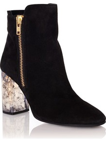Marbled Heel Ankle Boots - predominant colour: black; occasions: casual, creative work; material: suede; heel height: high; heel: block; toe: round toe; boot length: ankle boot; style: standard; finish: plain; pattern: plain; season: a/w 2016