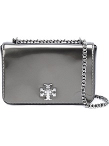 Metallic Shoulder Bag, Women's, Grey - predominant colour: silver; occasions: evening, occasion; type of pattern: standard; style: clutch; length: shoulder (tucks under arm); size: standard; material: leather; pattern: plain; finish: metallic; season: a/w 2016; trends: metallics