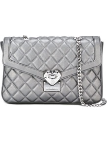 Quilted Shoulder Bag, Women's, Grey - predominant colour: silver; occasions: casual; type of pattern: standard; style: shoulder; length: shoulder (tucks under arm); size: small; material: leather; embellishment: quilted; pattern: plain; finish: metallic; season: a/w 2016
