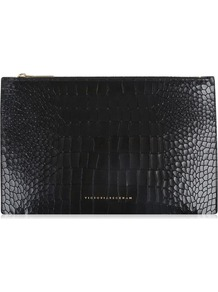 Small Simple Pouch - predominant colour: black; occasions: casual, creative work; type of pattern: standard; style: clutch; length: hand carry; size: standard; material: leather; pattern: animal print; finish: plain; season: a/w 2016