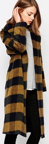 Mustard Shadow Check Coat With Oversized Collar Yellow/Black - pattern: horizontal stripes; fit: loose; style: single breasted; length: on the knee; collar: standard lapel/rever collar; predominant colour: mustard; secondary colour: black; occasions: casual; fibres: wool - mix; sleeve length: long sleeve; sleeve style: standard; texture group: knits/crochet; collar break: low/open; pattern type: knitted - fine stitch; pattern size: light/subtle; multicoloured: multicoloured; season: a/w 2016