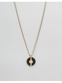 Doreen Long Necklace Gold - predominant colour: gold; secondary colour: black; occasions: casual; style: pendant; length: long; size: small/fine; material: chain/metal; finish: metallic; multicoloured: multicoloured; season: a/w 2016