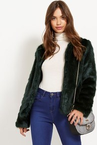 Collarless Faux Fur Jacket - pattern: plain; collar: round collar/collarless; style: boxy; predominant colour: dark green; occasions: casual, evening, creative work; fit: straight cut (boxy); fibres: acrylic - 100%; sleeve length: long sleeve; sleeve style: standard; texture group: fur; collar break: high; pattern type: fabric; length: cropped; season: a/w 2016