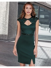 Cutout Belted Boydcon Dress - sleeve style: capped; fit: tight; pattern: plain; style: bodycon; waist detail: belted waist/tie at waist/drawstring; predominant colour: dark green; occasions: evening; length: just above the knee; neckline: peep hole neckline; fibres: polyester/polyamide - stretch; sleeve length: short sleeve; texture group: jersey - clingy; pattern type: fabric; season: a/w 2016