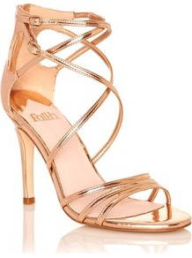 Strappy Metallic Heeled Sandals - predominant colour: gold; occasions: evening, occasion; material: faux leather; heel height: high; heel: stiletto; toe: open toe/peeptoe; style: strappy; finish: metallic; pattern: plain; season: a/w 2016