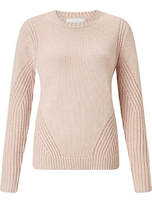 Deflected Rib Jumper - pattern: plain; style: standard; predominant colour: blush; occasions: casual, creative work; length: standard; fibres: cotton - mix; fit: standard fit; neckline: crew; sleeve length: long sleeve; sleeve style: standard; texture group: knits/crochet; pattern type: knitted - other; season: a/w 2016; trends: chunky knits
