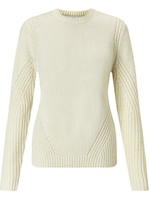 Deflected Rib Jumper - pattern: plain; style: standard; predominant colour: ivory/cream; occasions: casual, creative work; length: standard; fibres: cotton - mix; fit: standard fit; neckline: crew; sleeve length: long sleeve; sleeve style: standard; texture group: knits/crochet; pattern type: knitted - other; pattern size: standard; season: a/w 2016; trends: chunky knits