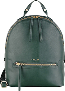 Great Eastern Street Backpack - predominant colour: dark green; occasions: casual, creative work; type of pattern: standard; style: rucksack; length: rucksack; size: standard; material: leather; pattern: plain; finish: plain; season: a/w 2016