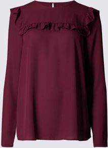 Long Sleeve Ruffle Yoke Blouse - pattern: plain; shoulder detail: tiers/frills/ruffles; style: blouse; predominant colour: burgundy; occasions: evening; length: standard; fibres: polyester/polyamide - 100%; fit: body skimming; neckline: crew; sleeve length: long sleeve; sleeve style: standard; bust detail: tiers/frills/bulky drapes/pleats; pattern type: fabric; texture group: other - light to midweight; season: a/w 2016