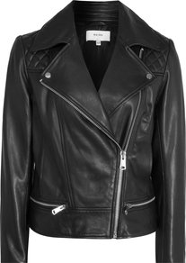 Frith Womens Quilted Leather Biker Jacket In Black - pattern: plain; style: biker; collar: asymmetric biker; predominant colour: black; occasions: casual; length: standard; fit: straight cut (boxy); fibres: leather - 100%; sleeve length: long sleeve; sleeve style: standard; texture group: leather; collar break: medium; pattern type: fabric; embellishment: quilted; season: a/w 2016