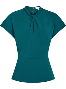 Hattie Womens Knot Detail Blouse In Blue - sleeve style: capped; pattern: plain; style: blouse; bust detail: ruching/gathering/draping/layers/pintuck pleats at bust; predominant colour: teal; occasions: work, occasion; length: standard; fibres: polyester/polyamide - 100%; fit: tailored/fitted; neckline: crew; sleeve length: short sleeve; texture group: crepes; pattern type: fabric; season: a/w 2016