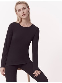 Short Layering Tee - pattern: plain; predominant colour: black; occasions: casual; length: standard; style: top; fibres: cotton - mix; fit: body skimming; neckline: crew; sleeve length: long sleeve; sleeve style: standard; pattern type: fabric; texture group: jersey - stretchy/drapey; wardrobe: basic; season: a/w 2016
