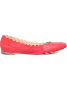 Lauren Scalloped Leather Ballet Flats, Women's, Eur 38 / 5 Uk Women, Red - predominant colour: true red; occasions: casual; material: leather; heel height: flat; toe: round toe; style: ballerinas / pumps; finish: plain; pattern: plain; season: a/w 2016