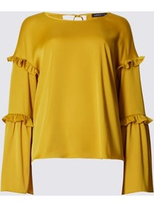 Satin Ruffle Long Sleeve Shell Top - pattern: plain; predominant colour: mustard; occasions: casual; length: standard; style: top; fibres: polyester/polyamide - stretch; fit: body skimming; neckline: crew; sleeve length: long sleeve; sleeve style: standard; pattern type: fabric; texture group: jersey - stretchy/drapey; season: a/w 2016