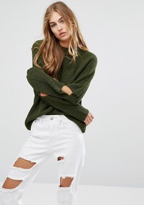 Cut Out Elbow Jumper Olive - pattern: plain; style: standard; predominant colour: dark green; occasions: casual; length: standard; fibres: acrylic - 100%; fit: loose; neckline: crew; sleeve length: long sleeve; sleeve style: standard; texture group: knits/crochet; pattern type: knitted - fine stitch; season: a/w 2016
