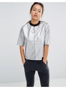 Silver Metallic T Shirt Silver - pattern: plain; neckline: high neck; style: t-shirt; predominant colour: silver; occasions: casual; length: standard; fibres: polyester/polyamide - 100%; fit: body skimming; sleeve length: half sleeve; sleeve style: standard; pattern type: fabric; texture group: jersey - stretchy/drapey; season: a/w 2016