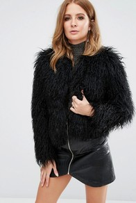 Faux Fur Mongolian Jacket Black - pattern: plain; collar: round collar/collarless; style: boxy; predominant colour: black; occasions: evening, creative work; length: standard; fit: straight cut (boxy); fibres: polyester/polyamide - 100%; sleeve length: long sleeve; sleeve style: standard; texture group: fur; collar break: high; pattern type: fabric; season: a/w 2016