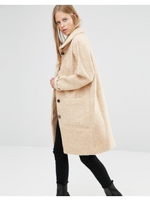 Funnel Neck Long Coat In Camel Camel/Vanilla Ice - pattern: plain; collar: funnel; fit: loose; style: single breasted; length: on the knee; predominant colour: ivory/cream; occasions: casual; fibres: polyester/polyamide - mix; sleeve length: long sleeve; sleeve style: standard; collar break: high; pattern type: fabric; texture group: woven bulky/heavy; season: a/w 2016
