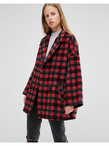 Double Breasted Coat In Red Check Pompeian Red Check - pattern: checked/gingham; length: below the bottom; fit: loose; style: double breasted; collar: standard lapel/rever collar; predominant colour: true red; secondary colour: black; occasions: casual; fibres: wool - mix; sleeve length: long sleeve; sleeve style: standard; collar break: medium; pattern type: fabric; texture group: woven bulky/heavy; multicoloured: multicoloured; season: a/w 2016