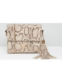 Faux Snake Box Shoulder Bag With Tassel Multi - predominant colour: ivory/cream; secondary colour: stone; occasions: casual, creative work; type of pattern: light; style: shoulder; length: shoulder (tucks under arm); size: small; material: faux leather; embellishment: tassels; pattern: animal print; finish: plain; season: a/w 2016