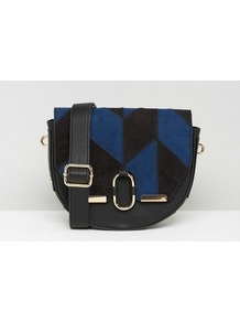 Suedette Saddle Bag In Patchwork Multi - predominant colour: royal blue; secondary colour: black; occasions: casual, creative work; type of pattern: light; style: saddle; length: shoulder (tucks under arm); size: small; material: leather; finish: plain; pattern: colourblock; season: a/w 2016