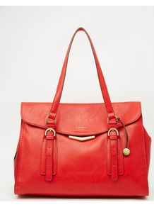 Shoulder Tote Bag Red - predominant colour: true red; occasions: casual, work, creative work; type of pattern: standard; style: tote; length: shoulder (tucks under arm); size: standard; material: leather; pattern: plain; finish: plain; season: a/w 2016