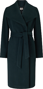 Nicci Belted Coat, Dark Forest - pattern: plain; collar: wide lapels; fit: loose; length: on the knee; style: wrap around; predominant colour: dark green; occasions: casual; fibres: wool - mix; waist detail: belted waist/tie at waist/drawstring; sleeve length: long sleeve; sleeve style: standard; collar break: medium; pattern type: fabric; texture group: woven bulky/heavy; season: a/w 2016