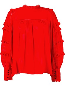 'qimper' Ruffle Sleeve Blouse, Women's, Red - pattern: plain; neckline: high neck; style: blouse; sleeve style: leg o mutton; predominant colour: true red; occasions: work, creative work; length: standard; fibres: silk - mix; fit: loose; sleeve length: long sleeve; texture group: silky - light; pattern type: fabric; season: a/w 2016