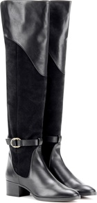 Suede And Leather Knee High Boots - predominant colour: black; occasions: casual; material: suede; heel height: flat; heel: block; toe: round toe; boot length: knee; style: standard; finish: plain; pattern: plain; season: a/w 2016