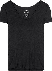 Syden Cotton Blend T Shirt - neckline: v-neck; pattern: plain; style: t-shirt; predominant colour: black; occasions: casual; length: standard; fibres: cotton - mix; fit: body skimming; sleeve length: short sleeve; sleeve style: standard; pattern type: fabric; texture group: jersey - stretchy/drapey; season: a/w 2016