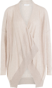 Draped Cotton Cardigan Beige - pattern: plain; neckline: waterfall neck; length: below the bottom; style: open front; predominant colour: blush; occasions: casual; fibres: cotton - 100%; fit: loose; sleeve length: long sleeve; sleeve style: standard; texture group: cotton feel fabrics; pattern type: knitted - fine stitch; season: a/w 2016