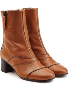 Leather Ankle Boots Brown - predominant colour: camel; occasions: casual; material: leather; heel height: mid; heel: block; toe: round toe; boot length: ankle boot; style: standard; finish: plain; pattern: plain; season: a/w 2016