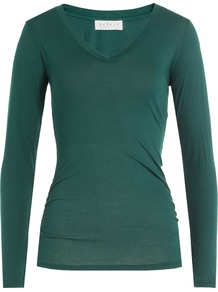 Long Sleeved Cotton Top Green - neckline: v-neck; pattern: plain; predominant colour: dark green; occasions: casual, work, creative work; length: standard; style: top; fibres: cotton - 100%; fit: body skimming; sleeve length: long sleeve; sleeve style: standard; pattern type: fabric; texture group: jersey - stretchy/drapey; season: a/w 2016
