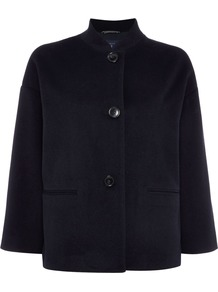 Short Wool Coat, Blue - pattern: plain; length: standard; style: pea coat; collar: high neck; predominant colour: navy; occasions: casual, creative work; fit: straight cut (boxy); fibres: wool - mix; sleeve length: long sleeve; sleeve style: standard; collar break: high; pattern type: fabric; texture group: woven bulky/heavy; wardrobe: basic; season: a/w 2016