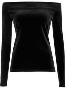 Black Velvet Bardot Top - neckline: off the shoulder; pattern: plain; predominant colour: black; occasions: evening; length: standard; style: top; fibres: polyester/polyamide - stretch; fit: body skimming; sleeve length: long sleeve; sleeve style: standard; pattern type: fabric; texture group: velvet/fabrics with pile; season: a/w 2016