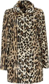 Stone Leopard Print Funnel Coat - style: single breasted; length: mid thigh; predominant colour: camel; secondary colour: black; occasions: evening, creative work; fit: straight cut (boxy); fibres: acrylic - 100%; collar: shirt collar/peter pan/zip with opening; sleeve length: long sleeve; sleeve style: standard; texture group: fur; collar break: high; pattern type: fabric; pattern size: standard; pattern: animal print; season: a/w 2016; trends: opulent prints
