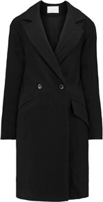 Brannon Linen And Wool Blend Coat Black - pattern: plain; style: double breasted; length: on the knee; fit: slim fit; collar: standard lapel/rever collar; predominant colour: black; occasions: work; fibres: wool - mix; sleeve length: long sleeve; sleeve style: standard; collar break: medium; pattern type: fabric; texture group: woven bulky/heavy; wardrobe: investment; season: a/w 2016