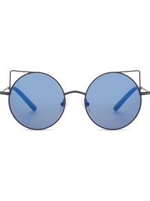 Mw122 C19 Cat Eye Sunglasses, Women's, Matt Blue - predominant colour: pale blue; occasions: casual, holiday; style: novelty; size: standard; material: chain/metal; pattern: plain; finish: metallic; season: a/w 2016; wardrobe: highlight