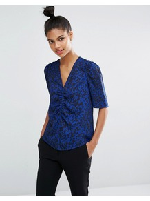 Crepe Leopard Print Ruched Top 425 - neckline: v-neck; style: blouse; bust detail: ruching/gathering/draping/layers/pintuck pleats at bust; predominant colour: royal blue; secondary colour: navy; occasions: casual, creative work; length: standard; fibres: polyester/polyamide - 100%; fit: straight cut; sleeve length: half sleeve; sleeve style: standard; texture group: crepes; pattern type: fabric; pattern size: standard; pattern: animal print; season: a/w 2016; wardrobe: highlight; trends: opulent prints