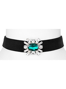Hannah Velvet Choker Necklace - predominant colour: black; occasions: evening; style: choker/collar/torque; length: choker; size: standard; material: fabric/cotton; finish: plain; embellishment: jewels/stone; season: a/w 2016; wardrobe: event