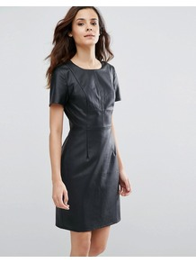 Betsy Perforated Dress Navy - style: shift; pattern: plain; predominant colour: navy; occasions: evening; length: just above the knee; fit: straight cut; neckline: crew; sleeve length: short sleeve; sleeve style: standard; texture group: leather; pattern type: fabric; fibres: pvc/polyurethene - 100%; season: a/w 2016; wardrobe: event