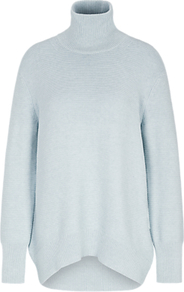 Dropped Back Longline Roll Neck Jumper - pattern: plain; length: below the bottom; style: tunic; neckline: roll neck; predominant colour: pale blue; occasions: casual; fibres: cotton - 100%; fit: standard fit; sleeve length: long sleeve; sleeve style: standard; texture group: knits/crochet; pattern type: knitted - fine stitch; pattern size: standard; season: a/w 2016; wardrobe: highlight
