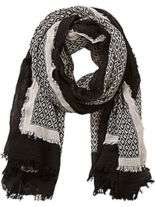 Betty & Co Textured Print Scarf, Nature/Black - secondary colour: ivory/cream; predominant colour: black; occasions: casual, creative work; type of pattern: standard; style: regular; size: standard; material: fabric; pattern: patterned/print; multicoloured: multicoloured; season: a/w 2016; wardrobe: highlight