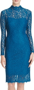 Petites Lace Sheath Dress - fit: tight; neckline: high neck; style: bodycon; bust detail: sheer at bust; predominant colour: turquoise; occasions: evening; length: on the knee; fibres: polyester/polyamide - 100%; sleeve length: long sleeve; sleeve style: standard; texture group: lace; pattern type: fabric; pattern: patterned/print; season: a/w 2016; wardrobe: event