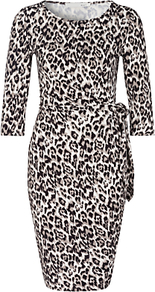 Animal Print Jersey Dress, Black/White - length: mid thigh; fit: tight; style: bodycon; hip detail: fitted at hip; waist detail: belted waist/tie at waist/drawstring; predominant colour: white; secondary colour: black; occasions: evening; neckline: scoop; fibres: viscose/rayon - stretch; sleeve length: 3/4 length; sleeve style: standard; texture group: jersey - clingy; pattern type: fabric; pattern size: standard; pattern: animal print; season: a/w 2016; wardrobe: event; trends: opulent prints