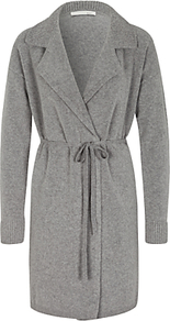 Longline Cardigan, Grey - neckline: shirt collar/peter pan/zip with opening; pattern: plain; style: belted; predominant colour: mid grey; occasions: casual, creative work; fibres: wool - mix; fit: loose; length: mid thigh; waist detail: belted waist/tie at waist/drawstring; sleeve length: long sleeve; sleeve style: standard; texture group: knits/crochet; pattern type: knitted - fine stitch; wardrobe: basic; season: a/w 2016