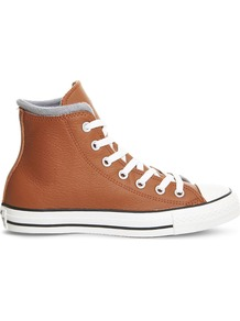 All Star Leather High Top Trainers, Women's, Antique Sepia Wool - predominant colour: tan; occasions: casual; material: leather; heel height: flat; toe: round toe; style: trainers; finish: plain; pattern: plain; shoe detail: moulded soul; season: a/w 2016; wardrobe: highlight