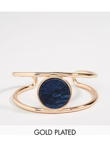 Gold Plated Ajustable Cuff Bracelet With Stone Rose Gold/Blue - predominant colour: navy; secondary colour: gold; occasions: evening, occasion, creative work; style: cuff; size: large/oversized; material: chain/metal; finish: metallic; embellishment: jewels/stone; season: a/w 2016; wardrobe: highlight